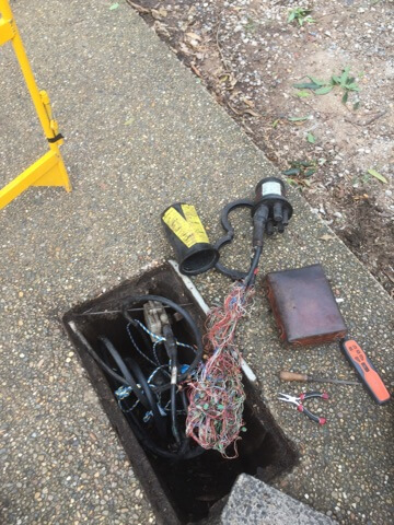 Telstra Cut Under Joint Not In A Bag - In The Bottom Of A Wet Pit